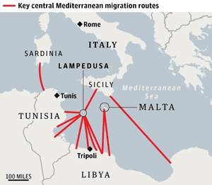 Map showing key central Mediterranean migrant routes.