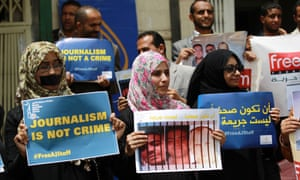 Yemenis stage a pro-journalism protest in Sanaa.