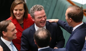 Smiles and back slaps for the government as the Carbon tax repeal bills pass in the house of representatives.