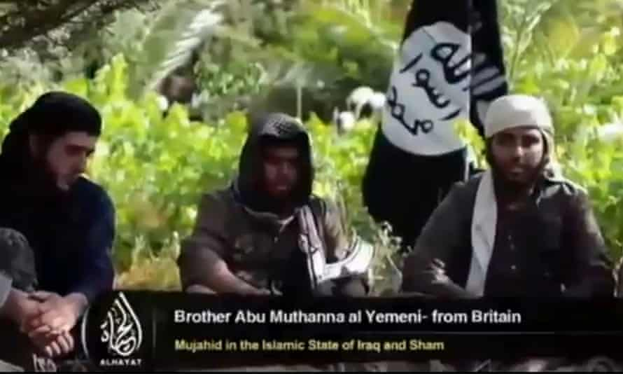 """Screengrab taken from YouTube of a video showing Islamist fighters, who claim to be British, in a recruitment video for the terrorist group Islamic State in Iraq and the Levant (Isis). Entitled: """"There's No Life Without Jihad""""."""