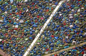 Fields of tents seen from the air at the Glastonbury Festival.
