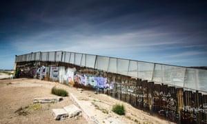 The Mexico-US border wall on the edge of the city of Tijuana.