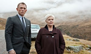 Daniel Craig as James Bond and Judi Dench as M in a scene from the film Skyfall