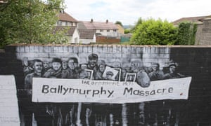 A mural commemorating the 1971 shootings in Ballymurphy, west Belfast, Northern Ireland.