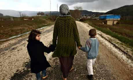 Sawssan  Abdelwahab, who fled Idlib in Syria, with her two children
