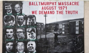 A mural commemorating the 1971 shootings in Ballymurphy, west Belfast, Northern Ireland