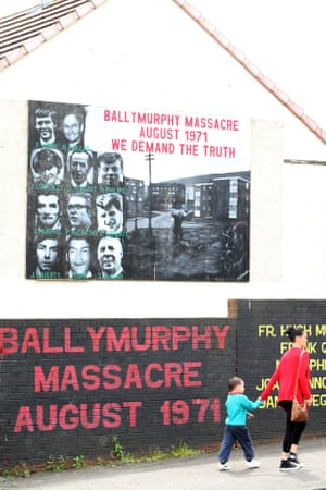 A mural commemorating the 1971 Ballymurphy shootings in west Belfast, Northern Ireland.