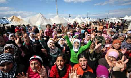 Syrian refugees at a protest against Assad in Turkey