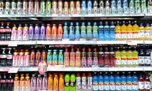 Fizzy drinks on a shelf