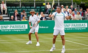 Pat Cash, right, and Peter McNamara playing an exhibition match earlier this month
