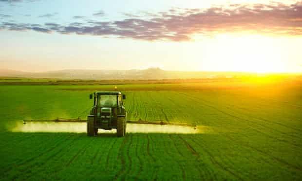 Pesticides being sprayed on crops.