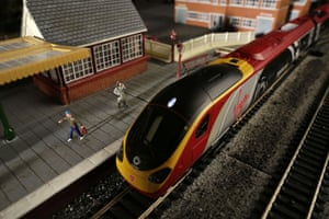 A Virgin Pendolino scale model train at the Hornby Visitor Centre.