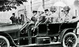 Archduke Franz Ferdinand and wife Sophie in car before assassination