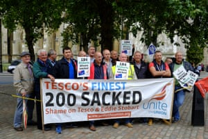 More than 20 ex-drivers have travelled from Yorkshire to protest outside the Tesco AGM in London against unfair dismissa.