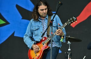 Adam Granduciel of the War On Drugs play at the Pyramid Stage
