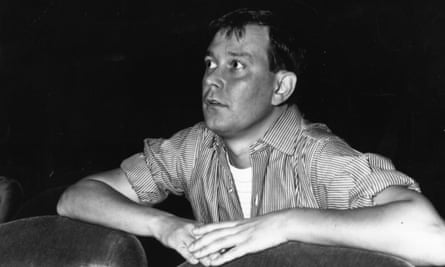 Joe Orton watching a rehearsal of his play 'Entertaining Mr Sloane' at Wyndham's Theatre, London