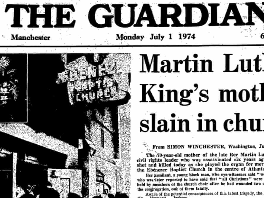 Murder of Martin Luther King's mother, Guardian 1 July 1974