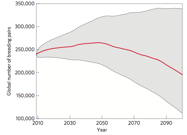 Global number of breeding pairs of emperor penguins from 2009 to 2100