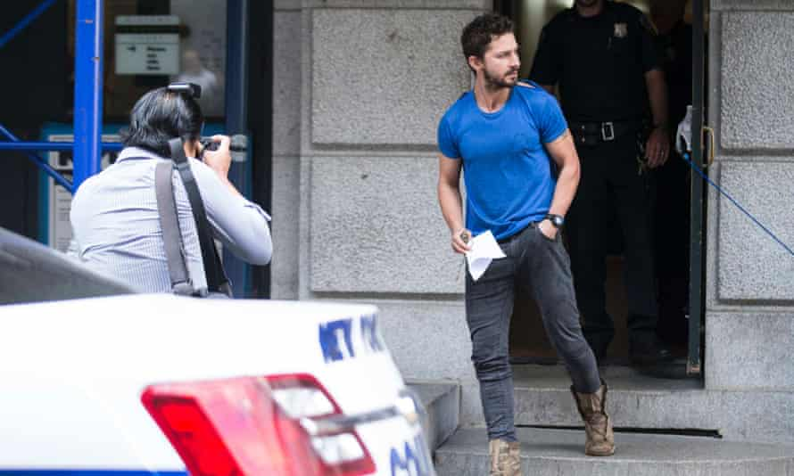 Actor Shia LaBeouf leaves Midtown Community Court in New York.