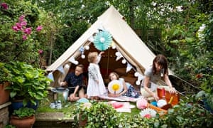 Emma Cook and family camp in their garden