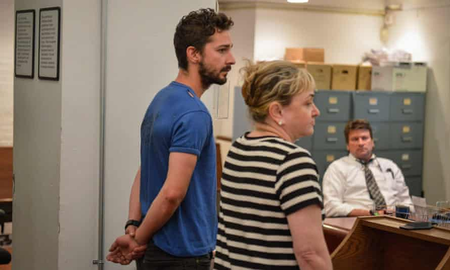 Shia LaBeouf, left, is arraigned in Midtown Community Court in New York, charged with harrassment, disorderly conduct and criminal trespass.