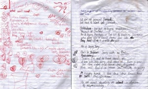 Pages from notebooks found by police in Samantha Lewthwaite's home in Mombasa