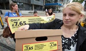 LivingWage campaigners at Tesco AGM