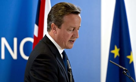 David Cameron holds a press conference at the European Council meeting on 27 June 2014.