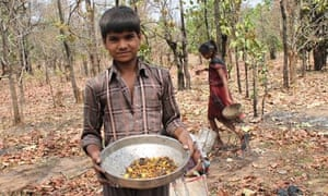 Children collect flowers in the Mahan forest