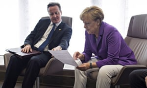 David Cameron holds a meeting with Angela Merkel before the start of the EU summit