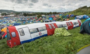 The Northern Line train tent at Glastonbury festival.
