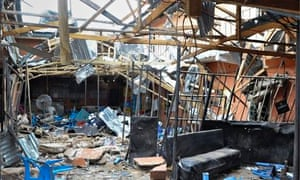 A hotel in the northern Nigerian city of Bauchi destroyed in a blast  blamed on Boko Haram