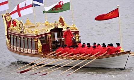 Queen Elizabeth II naming the Royal Row Barge, Gloriana, Greenland Pier, London