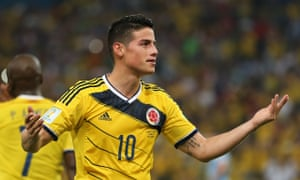 James Rodríguez during Colombia's 2-0 victory over  Uruguay at the World Cup in Rio de Janeiro