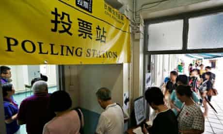 Hong Kong polling station unofficial referendum democracy