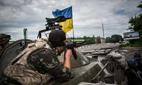 Ukrainian soldiers near Sloviansk