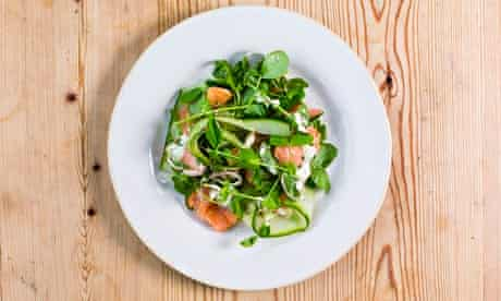 Hot smoked salmon salad on a plate at the Wheatsheaf