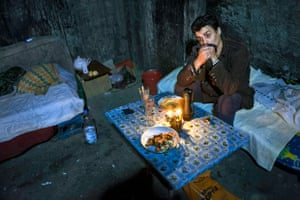 Hora Florin, aged 28, grew up in a Romanian orphanage, and now lives underground in a sewer in Buacharest where the heating vents keep him warm at night.