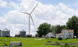 A wind turbine in Adair, Iowa. The IEA said US moves to cut emissions from power plants were 'very encouraging'