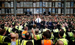 David Cameron campaigning on behalf of the Conservative candidate at an electronics firm, in Newark.
