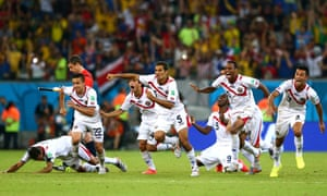 Costa Rica celebrate after winning the penalty shoot-out 5-3.