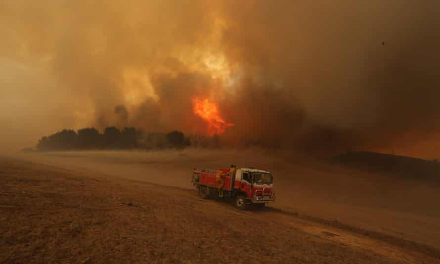 Firefighters tackle a bushfire in Wagga Wagga