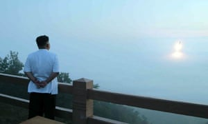 North Korea's official News Agency released a pic showing leader Kim Jong-Un observing a tactical rocket launch by the Korean People's Army