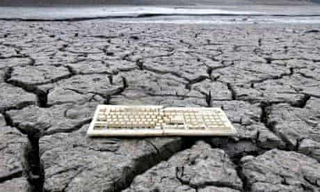 Keyboard on cracked-dry riverbed in California
