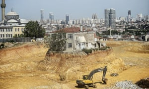 A lone house holds out against development in the Fikirtepe district of Istanbul.