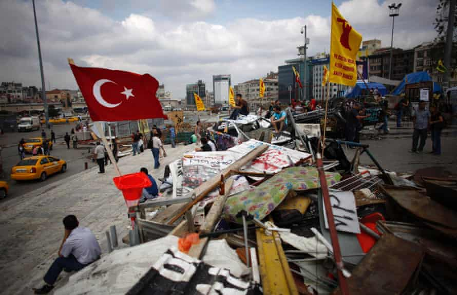 Protesters outside Gezi Park.