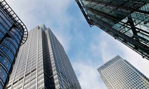 Office blocks are seen in Canary Wharf in London