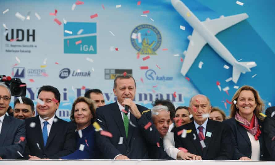 Turkish prime minister Recep Tayyip Erdogan after laying the first stone of the new Istanbul airport.