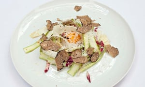 Slivers of asparagus and truffle salad at Toto's