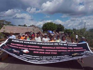 the Kukama Kukamiria's march to the city of Iquitos. They are protesting the toxic waste land left behind by over 40 years of oil contamination in their territories; and demand respect for their most basic human rights: access to clean water, safe food, and healthcare, June 16, 2014.